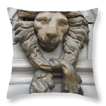 Throw Pillow featuring the photograph Bronze Lion by Pema Hou