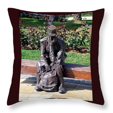 Bronze Mailman Resting Throw Pillow by Jay Milo