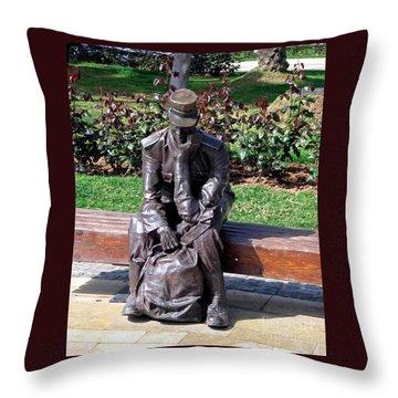 Bronze Mailman Resting Throw Pillow