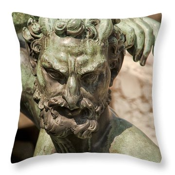 Bronze Satyr In The Fountain Of Neptune Of Florence Throw Pillow by Melany Sarafis