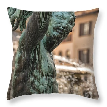 Bronze Satyr In The Statue Of Neptune Throw Pillow by Melany Sarafis