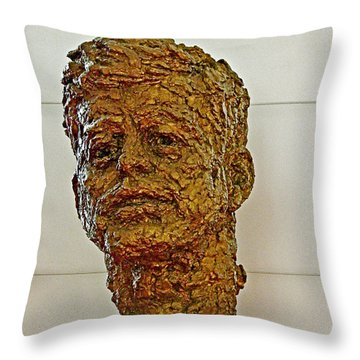 Bronze Sculpture Of President Kennedy In The Kennedy Center In Washington D C  Throw Pillow