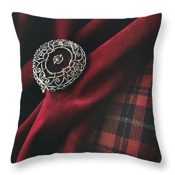 Brooch With Red Velvet And Green Plaid Throw Pillow by Sandra Cunningham