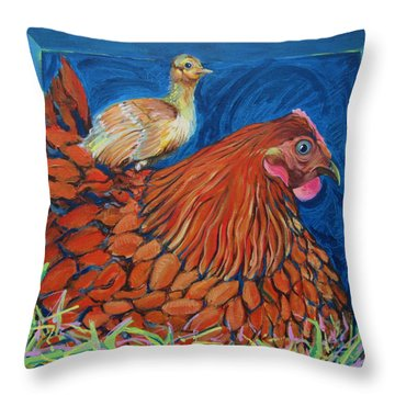Broody Beverly And Peachick Throw Pillow