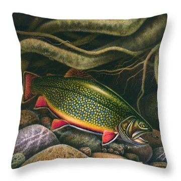 Throw Pillow featuring the painting Brook Trout Lair by JQ Licensing