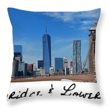 Brooklyn Bridge And Lower Manhattan Script Throw Pillow