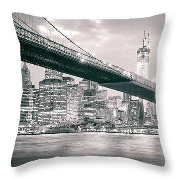 Brooklyn Bridge And New York City Skyline At Night Throw Pillow
