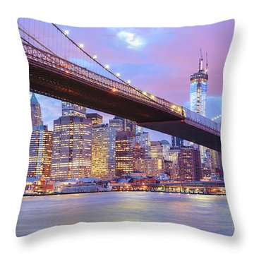Brooklyn Bridge And New York City Skyscrapers Throw Pillow