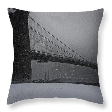 Brooklyn Bridge Blizzard Throw Pillow
