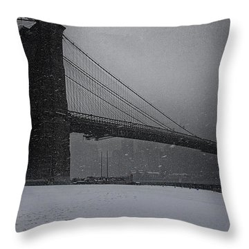 Brooklyn Bridge Blizzard Throw Pillow