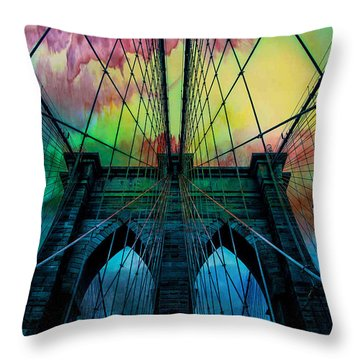 Psychedelic Skies Throw Pillow