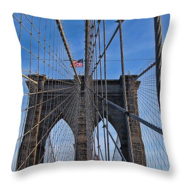 Throw Pillow featuring the photograph Brooklyn Bridge by David Gleeson