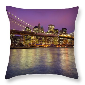 Brooklyn Bridge Throw Pillow by Inge Johnsson