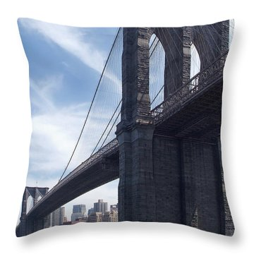 Brooklyn Bridge Throw Pillow by Mike McGlothlen