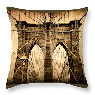 Brooklyn Bridge Nostalgia Throw Pillow by Jessica Jenney