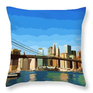 Brooklyn Bridge  Throw Pillow by P Dwain Morris