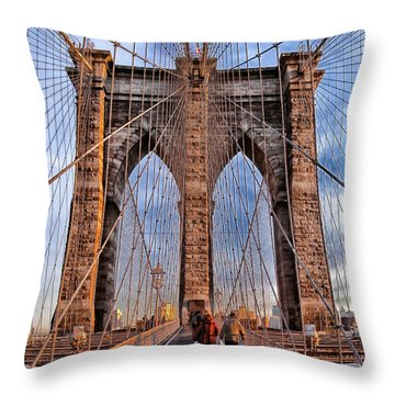 Throw Pillow featuring the photograph Brooklyn Bridge by Paul Fearn