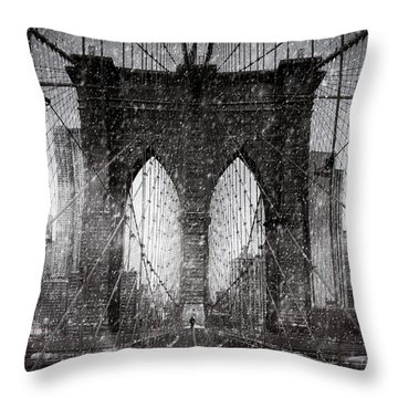 Brooklyn Bridge Snow Day Throw Pillow