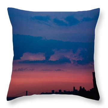 Brooklyn Bridge Sunrise Throw Pillow by Sara Frank