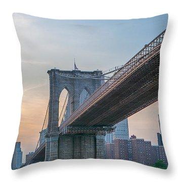 Brooklyn Bridge Sunset Throw Pillow