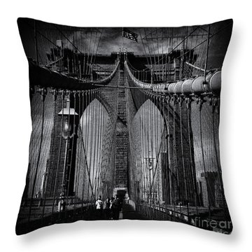 Brooklyn Bridge Up Close New York City Throw Pillow