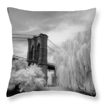 Brooklyn Bridge Willows Throw Pillow