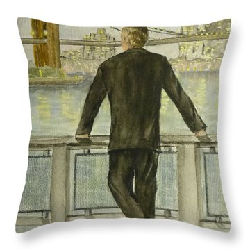 Throw Pillow featuring the painting Brooklyn Bridges Finest New York by Kelly Mills