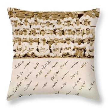 Brooklyn Dodgers Baseball Team Throw Pillow