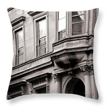 Brooklyn Heights -  N Y C - Classic Building And Bike Throw Pillow