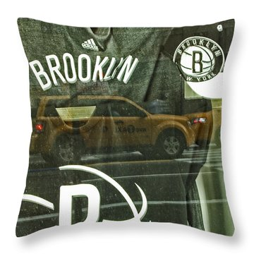 Brooklyn Nets Throw Pillow by Karol Livote