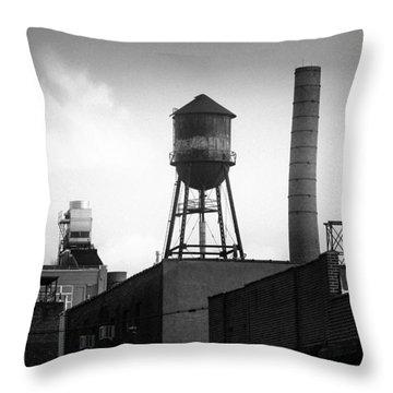 Throw Pillow featuring the photograph Brooklyn Water Tower And Smokestack - Black And White Industrial Chic by Gary Heller