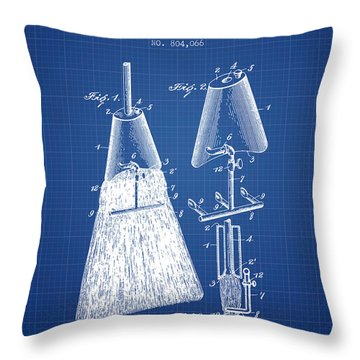 Broom Attachment Patent From 1905 - Blueprint Throw Pillow