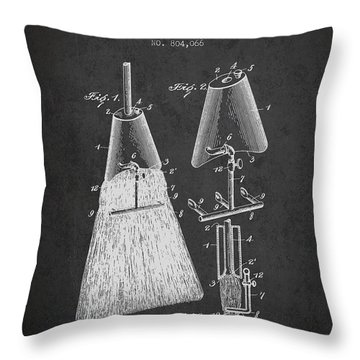 Broom Attachment Patent From 1905 - Charcoal Throw Pillow