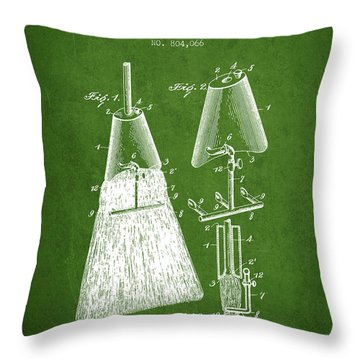 Broom Attachment Patent From 1905 - Green Throw Pillow