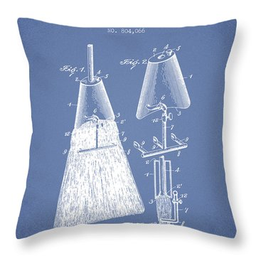 Broom Attachment Patent From 1905 - Light Blue Throw Pillow