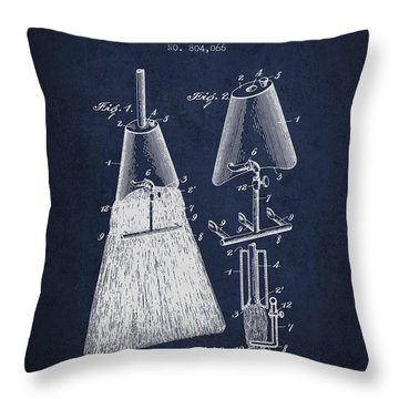 Broom Attachment Patent From 1905 - Navy Blue Throw Pillow