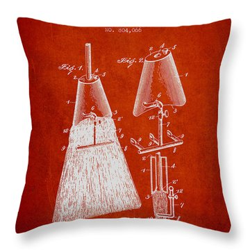 Broom Attachment Patent From 1905 - Red Throw Pillow