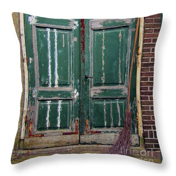 Broom Door Throw Pillow
