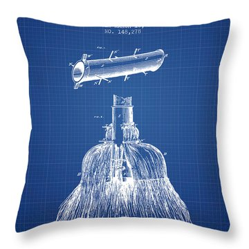 Broom Handle Sockets Patent From 1874 - Blueprint Throw Pillow