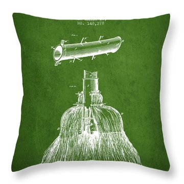 Broom Handle Sockets Patent From 1874 - Green Throw Pillow