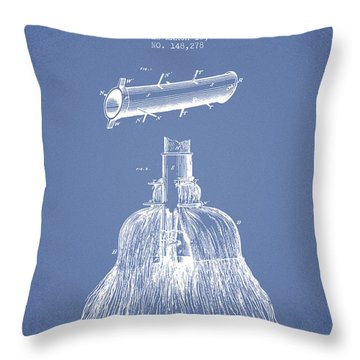Broom Handle Sockets Patent From 1874 - Light Blue Throw Pillow