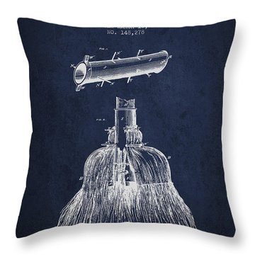 Broom Handle Sockets Patent From 1874 - Navy Blue Throw Pillow