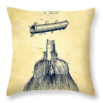 Broom Handle Sockets Patent From 1874 - Vintage Throw Pillow