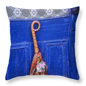 Throw Pillow featuring the photograph Broom On Blue Door by Rodney Lee Williams