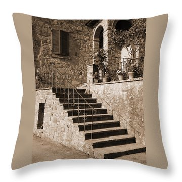 Broom On The Stairs Throw Pillow