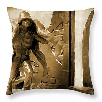 Brothers In Arms Throw Pillow by John Malone