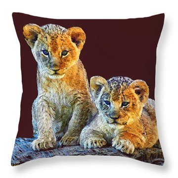 Brothers Throw Pillow by Marina Likholat
