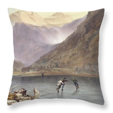 Brothers Water, Detail Of Ice Skaters Throw Pillow by James Baker Pyne