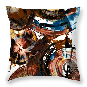 Throw Pillow featuring the painting Brown And Blue Spherical Joy - 992.042212 by Kris Haas