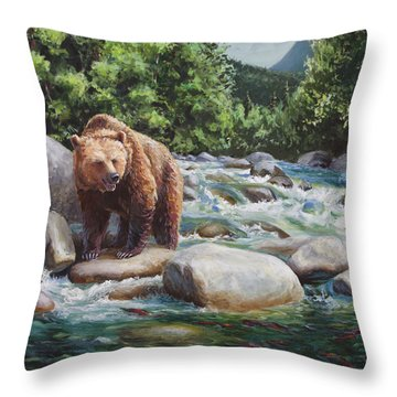Brown Bear And Salmon On The River - Alaskan Wildlife Landscape Throw Pillow